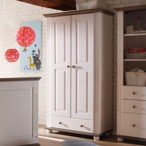 Garde-robe Laurel 96cm à 2 portes & 1 tiroir - blanc/brun