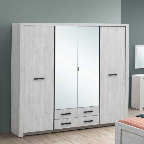 Garde-robe Elvira 218cm 4 portes & miroirs - chêne blanc