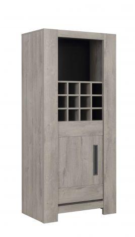 Vaisselier Bosy avec casier range bouteilles & 1 porte - chêne gris clair