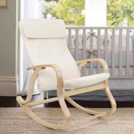 Chaise à bascule Suzan - beige/bouleau