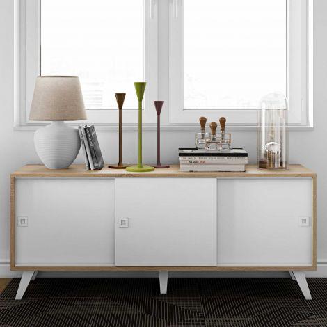 Bahut Kim 3 portes - chêne/blanc