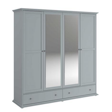 Armoire Morgane 4 portes - gris