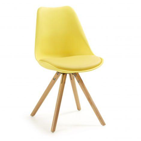 Ensemble de 4 chaises Ralf bois/plastique - jaune