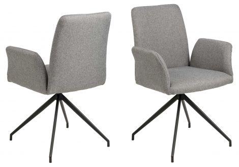 Chaise pivotante Robert - gris clair/noir