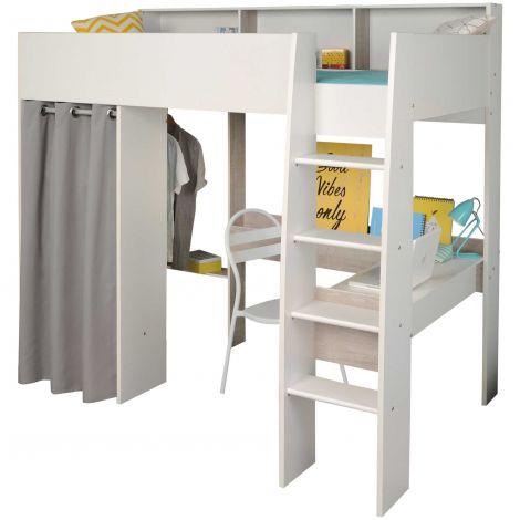 Lit mezzanine Taylor blanc - avec bureau et garde-robe