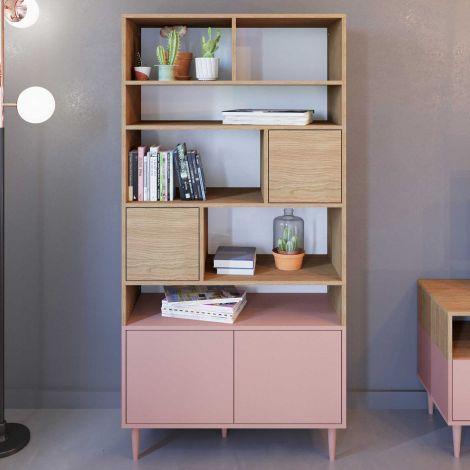 Bibliothèque Horizon grande - chêne/rose