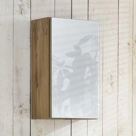 Armoire murale Helina 40cm 1 porte - chêne/blanc