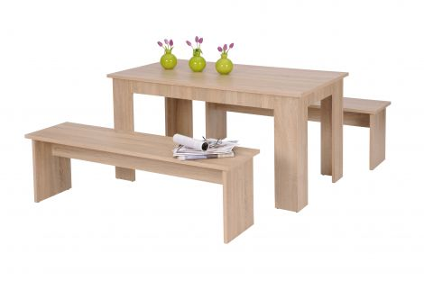 Table et bancs Munich 140cm - chêne sonoma