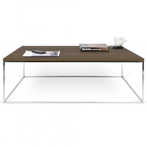 Table basse Gleam 120x75 - noyer/chrome
