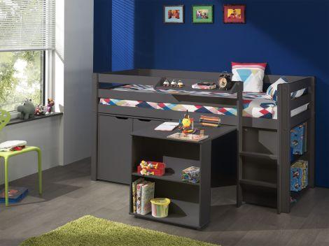 Lit mi-hauteur Charlotte avec bureau, bibliothèque et commode - taupe