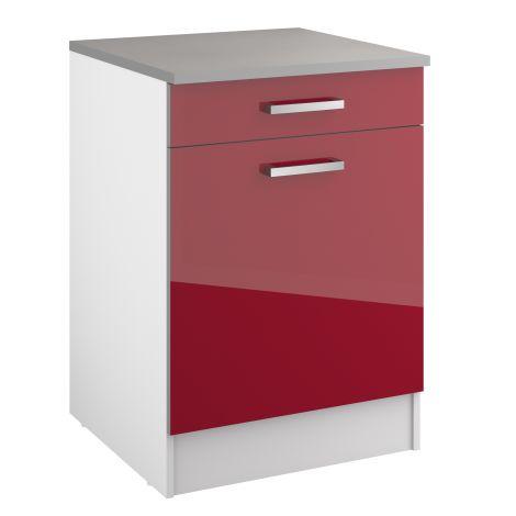Meuble bas Eli 60 cm avec tiroir et porte - rouge