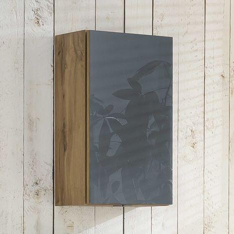 Armoire murale Helina 40cm 1 porte - chêne/gris