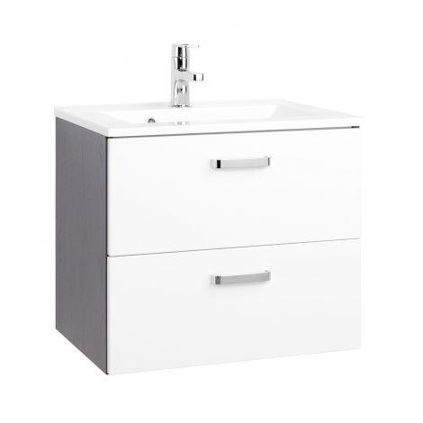 Meuble vasque Bobbi 60cm avec 2 tiroirs et vasque céramique - graphite/blanc brillant