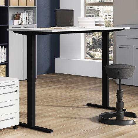 Bureau assis debout Oswald 160 cm électrique - gris clair/noir