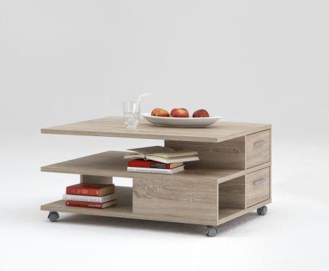 Table basse Pia 92x60 sur roulettes - chêne