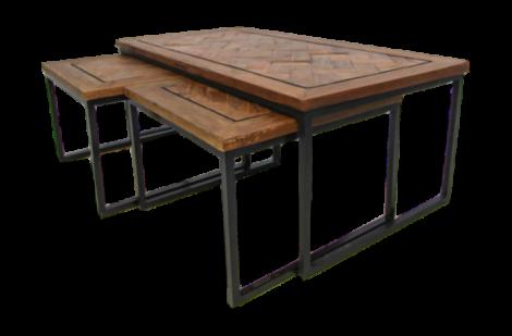 Set de table basse Bradley - bois / fer Java recyclé - S / 3