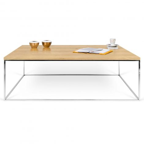 Table basse Gleam 120x75 - chêne/chrome