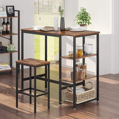 Table de bar Isolde 109x60 avec 3 étagères - brun/noir