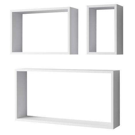 Jeu de 3 étagères murales Shelvy rectangulaires - blanc