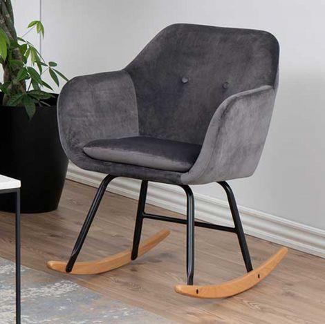 Chaise à bascule Hermeline en velours - gris foncé