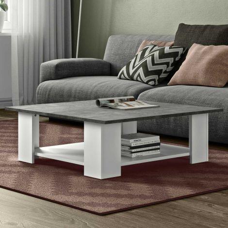 Table basse Square 89x89 - blanc/béton