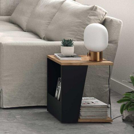 Table d'appoint Albi 40x40cm - noyer/noir