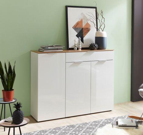 Bahut Ceras 134cm avec 3 portes & 1 tiroir - blanc/chêne