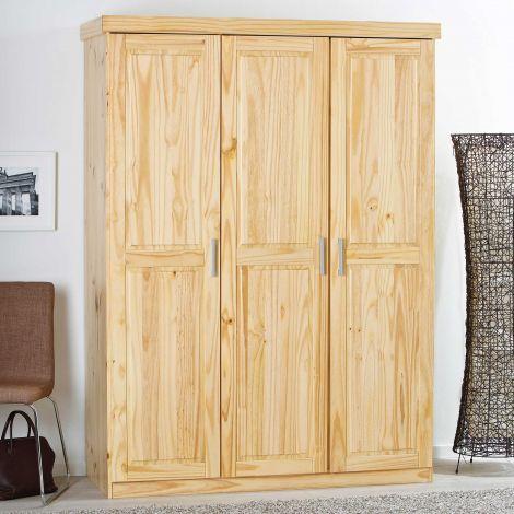 Garde-robe Léon 140cm avec 3 portes - nature