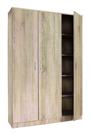 Armoire de rangement Ray 120cm à 3 portes et 4 tablettes - chêne sonoma