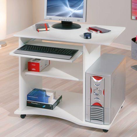Bureau sur roulettes pour ordinateur Adda - blanc