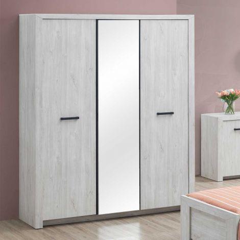 Garde-robe Elvira 173cm 3 portes & miroir - chêne blanc