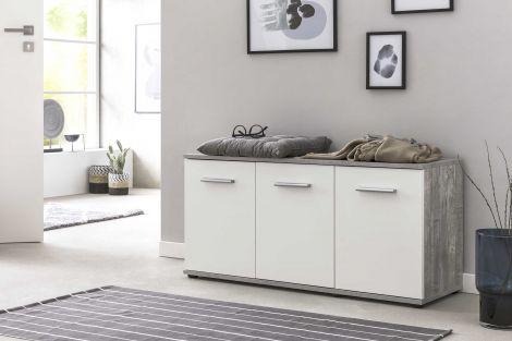 Armoire à chaussures Dion 3 portes - blanc / béton