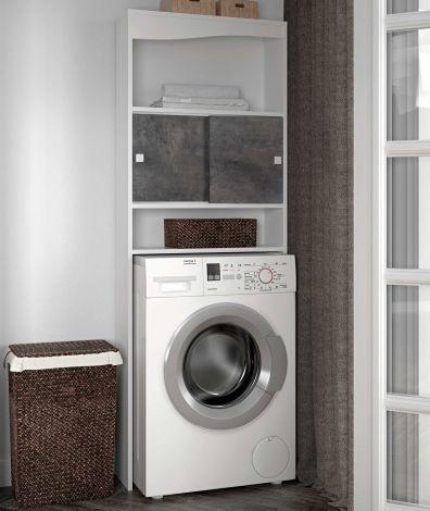 Meuble Splash pour lave-linge/W.-C. - blanc/béton