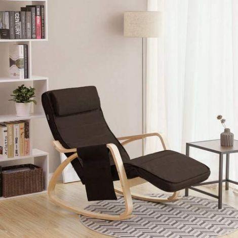 Chaise à bascule Rani avec poche latérale - brun/bouleau