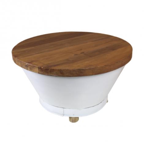 Table basse Emmer ø75cm - blanc/teck