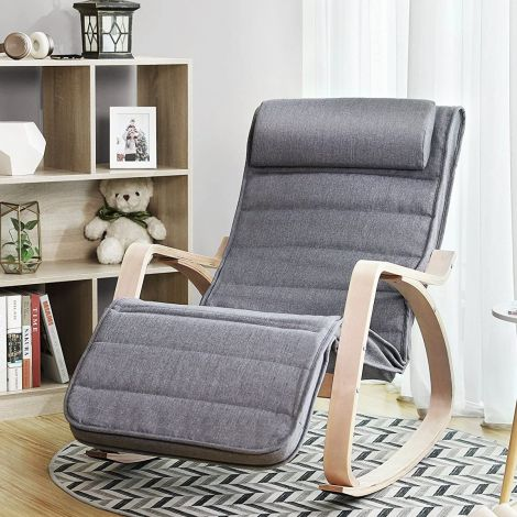 Chaise à bascule Rani - gris foncé/bouleau