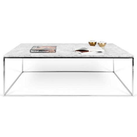 Table basse Gleam 120x75 - marbre blanc/chrome