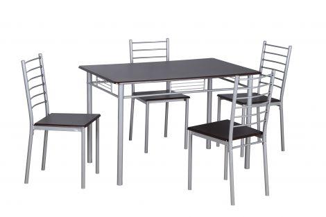 Table et chaises Chiara - wengé