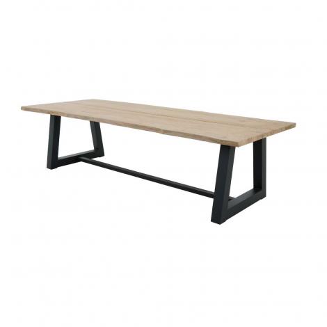 Table de jardin Simeon 280x100 - teck/noir