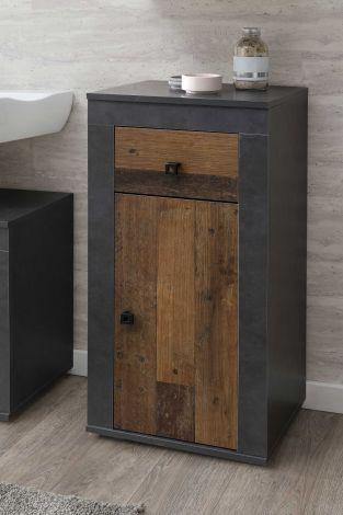 Armoire de salle de bains Rutger 1 tiroir & 1 porte - bois/graphite