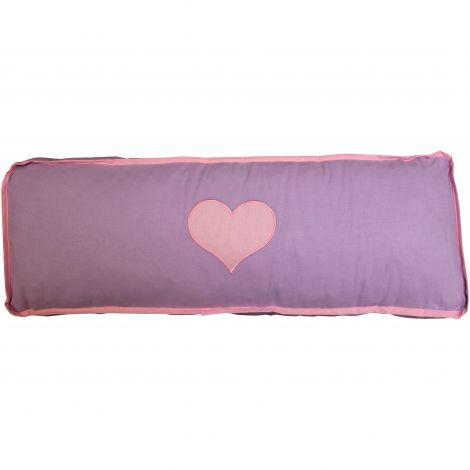 Coussin violet/rose cœur