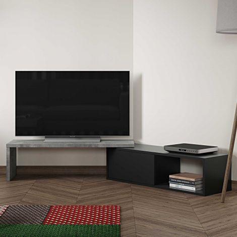 Meuble TV Movie 110cm - béton/noir