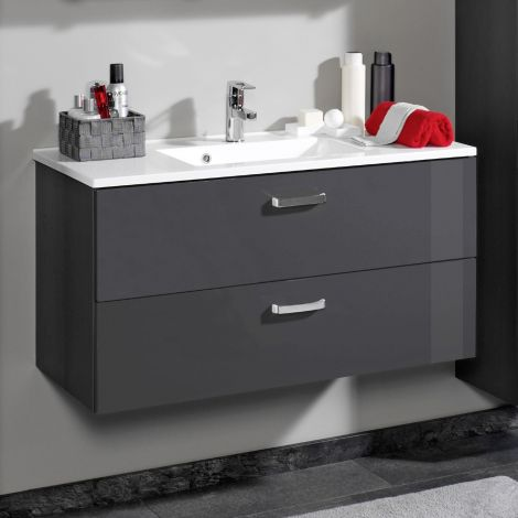 Meuble vasque Bobbi 100cm avec 2 tiroirs et vasque céramique - graphite/gris brillant