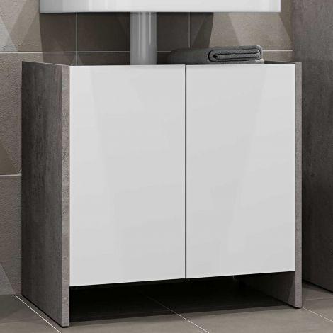 Meuble sous lavabo Biarritz - blanc/béton