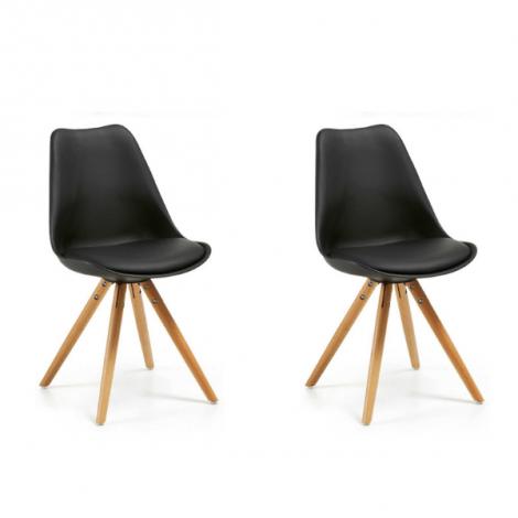 Lot de 2 chaises Ralf bois/plastique - noir