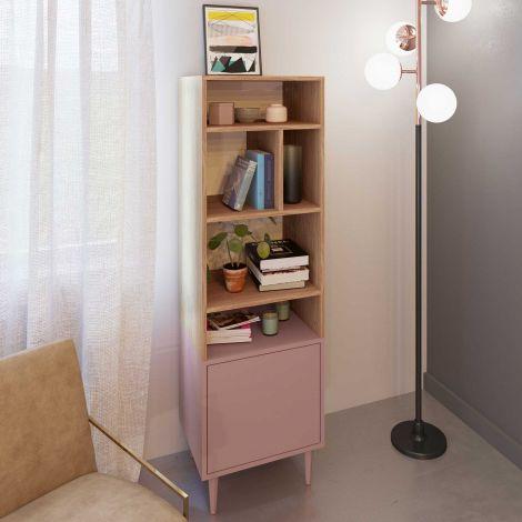 Bibliothèque Horizon petite - chêne/rose