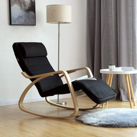 Chaise à bascule Romy - noir/bouleau