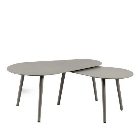 Jeu de 2 tables basses pour extérieur Equator/Gabon - quartz gris