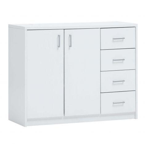 Commode Spacio 2 portes & 4 tiroirs H 84cm - blanc