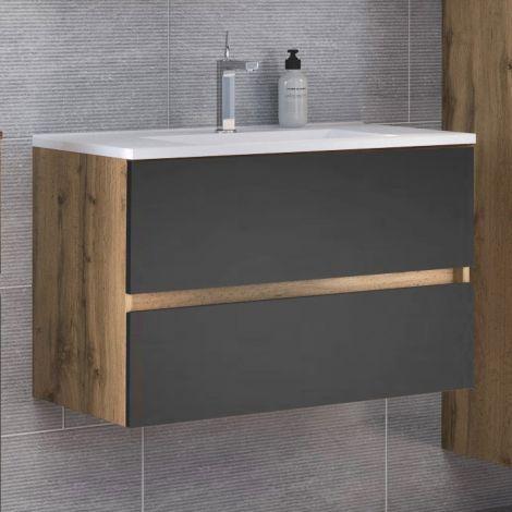 Meuble vasque Luna 100cm 2 tiroirs - chêne/gris
